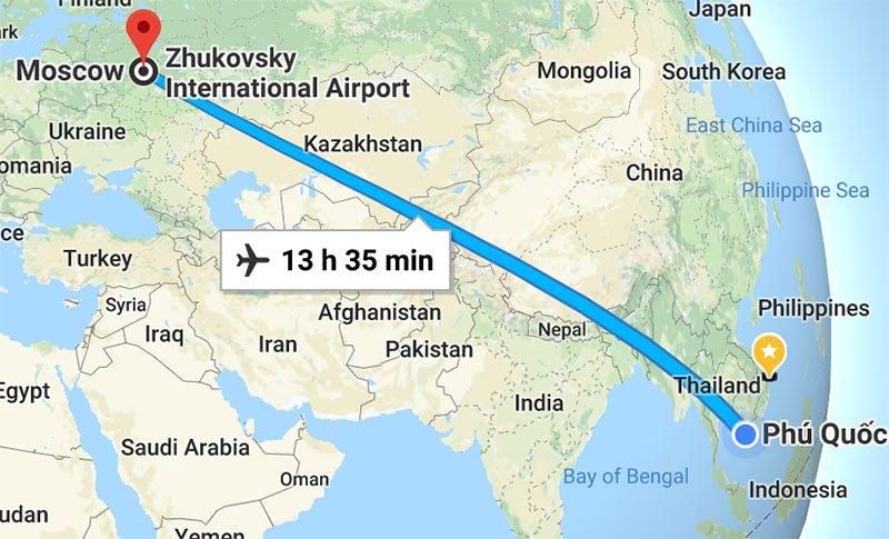 Расстояние от Москвы до Фукуока
