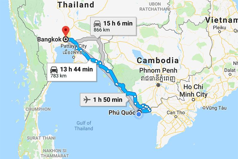 Расстояние от Бангкока до Фукуока