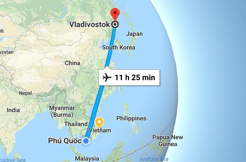 Расстояние от Владивостока до Фукуока