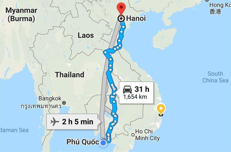 Расстояние от Фукуока до Ханоя
